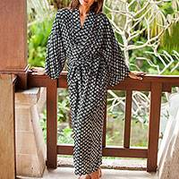 Rayon robe, 'A Thousand Swirls' - Black and White Rayon Robe from Indonesia
