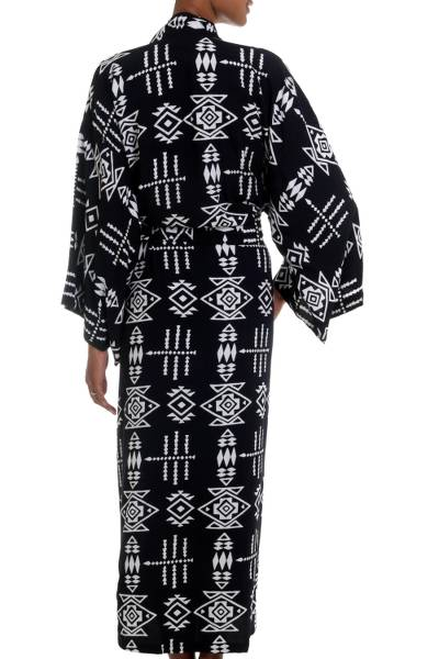 Rayon robe, 'Eastern Tranquility' - Black and White Patterned Rayon Robe from Indonesia