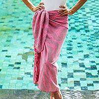 Rayon sarong, 'Coral Flow' - Handmade Pink and Brown Rayon Sarong from Indonesia