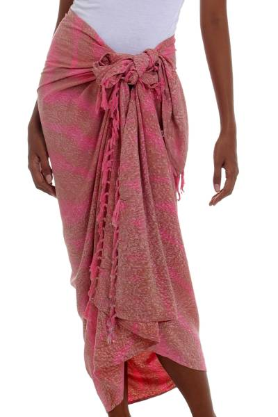 Handmade Pink and Brown Rayon Sarong from Indonesia
