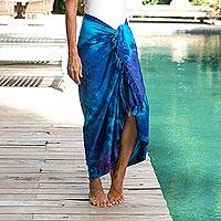 Rayon tie-dyed sarong, 'Sea Glass' - Rayon Tied Dyed Sarong in Assorted Shades of Blue and Purple