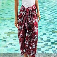 Rayon batik sarong, 'Tropical Garden in Claret' - Red Floral Rayon Sarong with Hand Stamped Batik Pattern