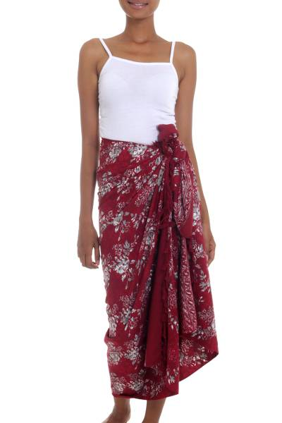 Red Floral Rayon Sarong with Hand Stamped Batik Pattern