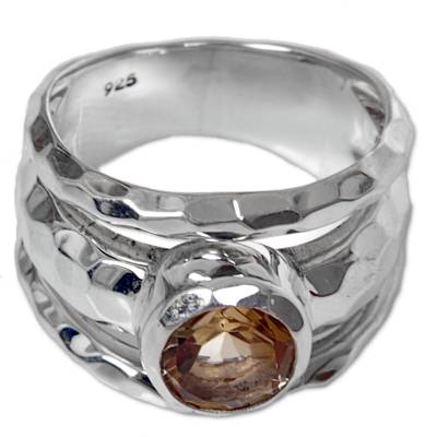 Sterling Silver Yellow Citrine Cocktail Ring from Indonesia