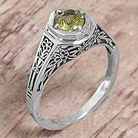 Peridot solitaire ring, 'Garden of Magic' - Sterling Silver Peridot Floral Solitaire Ring from Indonesia