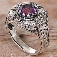 Amethyst cocktail ring, 'Amethyst Dream' - Amethyst Sterling Silver Ring Handmade in Indonesia