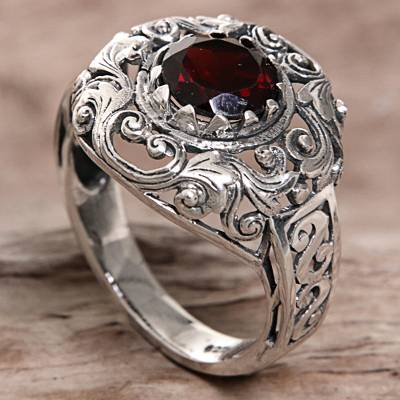 Ladies silver band rings - Garnet Sterling Silver Ring Handmade in Indonesia