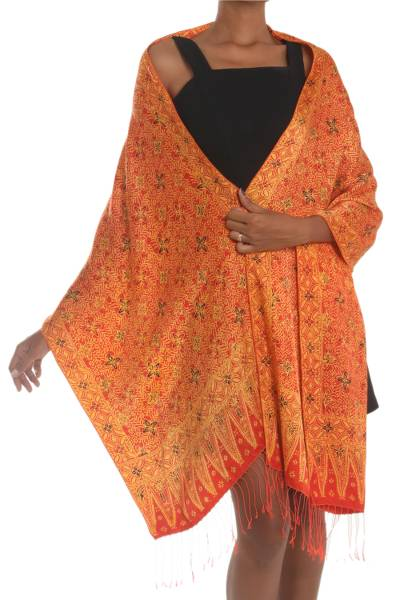 Silk shawl, 'Serene Garden' - Red and Yellow Hand-Stamped Batik Silk Shawl