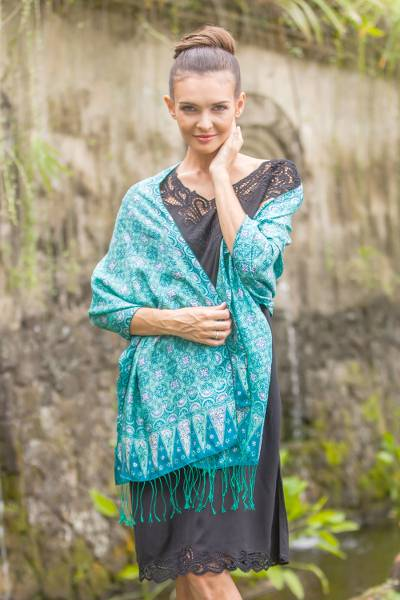 Silk shawl, 'Kawung Biru' - Blue and Green Traditional Hand-Stamped Batik Silk Shawl