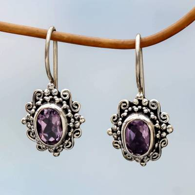 Amethyst drop earrings, 'Nature's Mirrors' - Hand Made Amethyst Sterling Silver Drop Earrings Indonesia