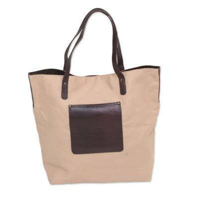 Cotton Tote Bag with Leather Pocket and Handles
