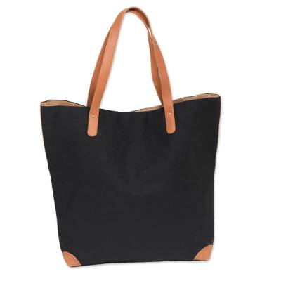 Black Tote Shoulder Bag with Brown Leather Accents