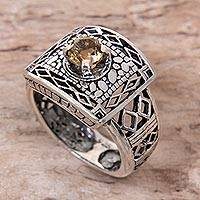 Citrine cocktail ring, 'Bali Temple' - Handmade Citrine and Sterling Silver Cocktail Ring