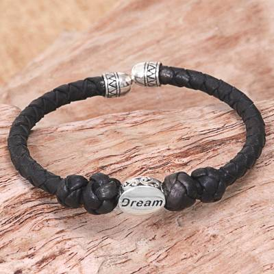 Sterling silver accent leather cuff bracelet, 'Bali Dream' - Sterling Silver Leather Cuff Bracelet in Black Indonesia