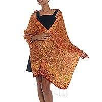 Silk batik shawl, 'Burnt Orange Flowers' - 100% Silk Batik Shawl in Burnt Orange from Indonesia