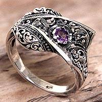 Amethyst cocktail ring, 'Dragon Fang' - Amethyst Sterling Silver Cocktail Ring Handmade in Indonesia
