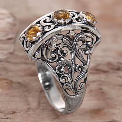 Citrine and Sterling Silver Ring Hand Crafted in Indonesia
