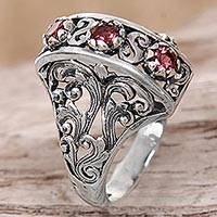 Garnet cocktail ring, 'Crimson Triad' - Garnet Sterling Silver Ring Hand Crafted in Indonesia