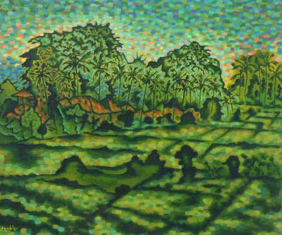 'Landscape in Kengetan' - Pointillist Style Original Painting of a Balinese Village