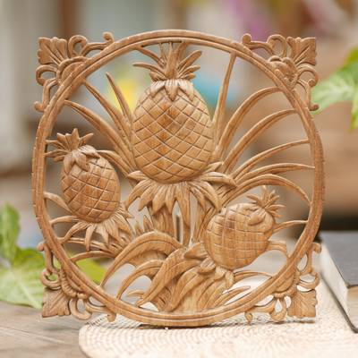 Wood wall relief panel, 'Bali Pineapple' - Pineapple Decorative Wall Panel Handmade in Indonesia
