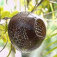 Coconut shell birdhouse, 'Sea Scales' - Hand Made Coconut Shell Hanging Birdhouse from Indonesia