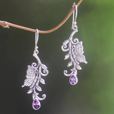 Amethyst dangle earrings, 'Royal Monarchs' - Handmade Sterling Silver and Amethyst Dangle Earrings