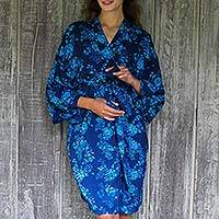 Batik rayon robe, 'Gorgeous in Cyan' - Blue Batik Flowers Balinese Rayon Short Cross Over Robe