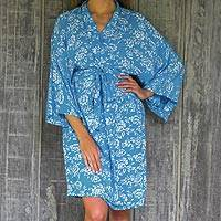 Batik rayon robe, 'Gorgeous in Cerulean' - Balinese Rayon Short Cross Over Robe Blue Batik Flowers