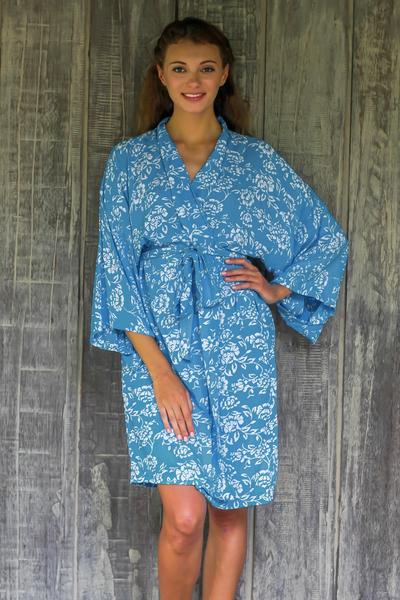 Batik rayon robe, 'Gorgeous in Cerulean' - Balinese Rayon Short Cross Over Robe Blue Batik Flowers