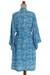 Batik rayon robe, 'Gorgeous in Cerulean' - Balinese Rayon Short Cross Over Robe Blue Batik Flowers (image 2f) thumbail