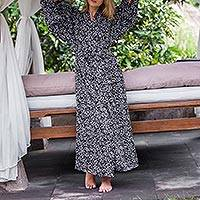 Rayon robe, 'Simple Luxury' - Black and White Floral Rayon Robe from Indonesia Artisan