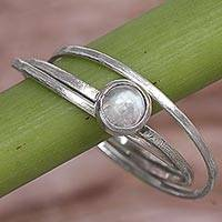 Rainbow moonstone solitaire ring, 'Magical Force' - Rainbow Moonstone and Sterling Silver Solitaire Ring