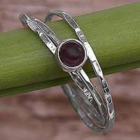 Garnet solitaire ring, 'Magical Essence in Red' - Garnet and Sterling Silver Solitaire Ring from Indonesia
