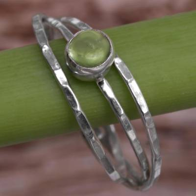 Peridot solitaire ring, 'Magical Essence in Light Green' - Peridot and Sterling Silver Solitaire Ring from Indonesia