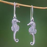 Sterling silver dangle earrings, 'Sea Horse Couple' - Sterling Silver Dangle Earrings Sea Horse Indonesia