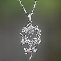 Garnet pendant necklace, 'Hunting Dragonfly' - Hand Made Sterling Silver Garnet Pendant Necklace Indonesia