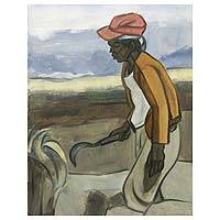 'Pulling Weeds' - Original Javanese Landscape Painting in Oils on Canvas