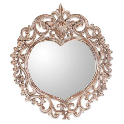 Hand Carved Wood Heart Shaped Wall Mirror from Indonesia
