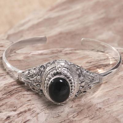 Onyx locket cuff bracelet, 'Deep Gaze' - Onyx and Sterling Silver Cuff Locket Bracelet Indonesia