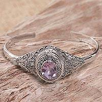 Amethyst locket cuff bracelet, 'Watchful Eye' - Hand Made Amethyst Sterling Silver Cuff Bracelet Indonesia