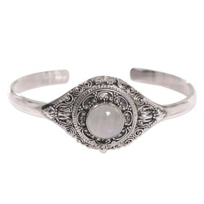Unique Ornate Sterling Silver Cuff Rainbow Moonstone Locket Bracelet