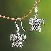 Sterling silver dangle earrings, 'Radiant Turtles' - Sterling Silver Turtle Earrings with Enticing Shell Design