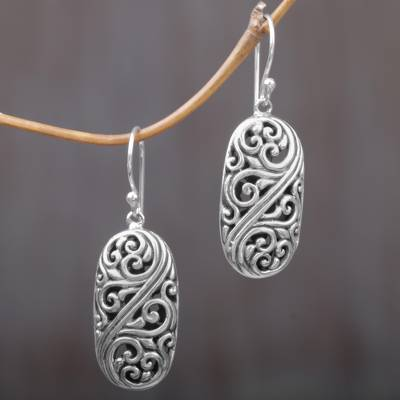 Sterling silver dangle earrings, Forest of Vines