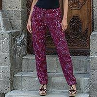Featured review for Rayon pants, Wine Floral