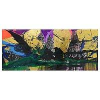 'At Dawn' - Abstract Signed Painting of Dawn over Balinese Landscape