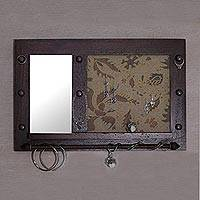 Wood wall mirror and jewelry rack, 'Bali Heritage in Brown' - Hand Made Wood Wall Mirror and Jewelry Rack Brown Indonesia