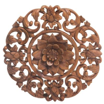 Wood wall relief panel, 'Peaceful Lily' - Hand Carved Suar Wood Lily Wall Hanging from Bali