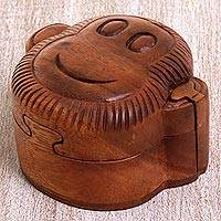 Wood puzzle box, 'Happy Monkey' - Hand Made Wood Puzzle Box Monkey Face form Indonesia