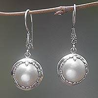 Cultured pearl dangle earrings, 'Perfect Twin Moons' - Round Cultured Pearl Dangle Earrings Handmade in Indonesia