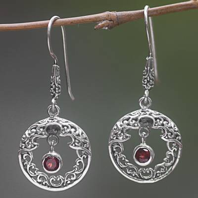 Garnet dangle earrings, 'Cage of the Sun' - Garnet Dangle Earrings Hand Crafted in Indonesia